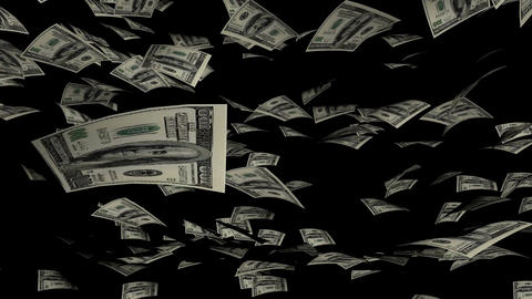Animation of Dollars fall on background Animation