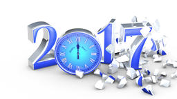 New Year 2017. Christmas. Blue figures and clock, midnight. The figure six colla Animation