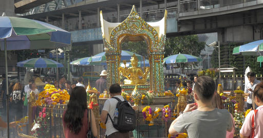 Tourists at Altar Erawan in Bangkok, Thailand Footage
