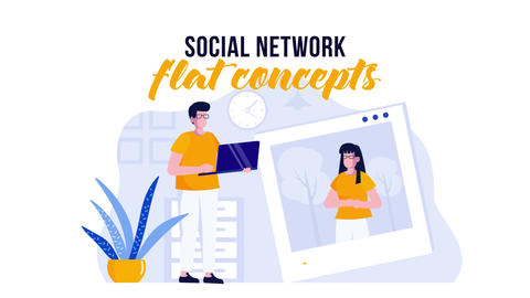 Social network - Flat Concept After Effects Template