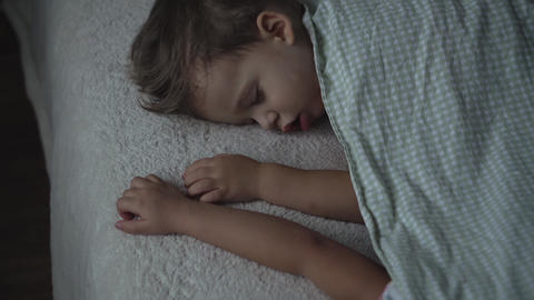 Relaxation, Sweet Dreams, Childhood, Family Concepts - Tight close up top view Live Action
