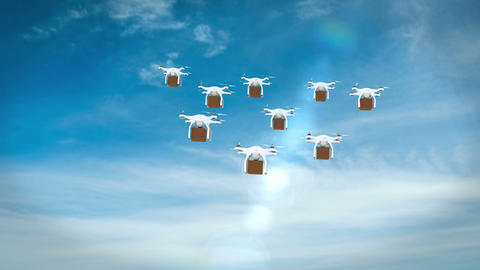 Digital image of drones holding cardboard boxes and flying Animation