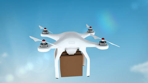 Digital image of drone holding cardboard box Animation
