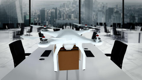 Digital image of drone holding cardboard box and flying Animation