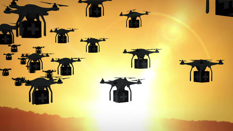 Digital image of silhouettes drone holding boxes and flying Animation