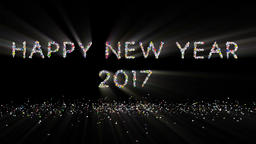 Happy New Year 2017 text, holiday element against black, light rays Animation