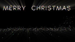Merry Christmas text, holiday element against black, light rays Animation