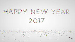 Happy New Year 2017, holiday element against white Stock Video Footage
