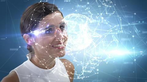 Smiling woman using futuristic glasses Animation
