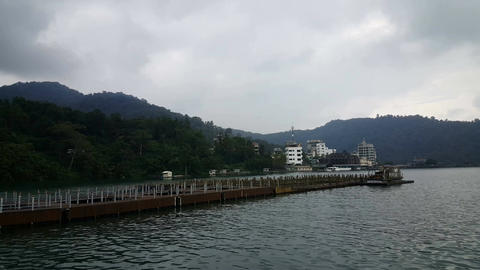 At the riverside of cable car station of Yuchi Footage