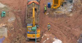 Timelapse of excavator loading truck Footage