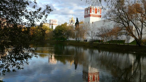 Novodevichy Convent and its reflection in the pond Footage