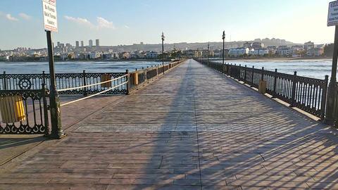Motion timelapse on the pier in Atakum beach, Samsun, Turkey Footage