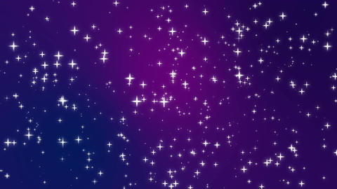 Sparkly light star particles moving across purple gradient background Animation
