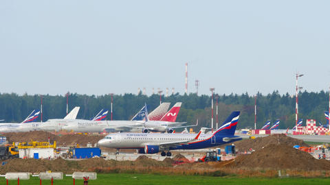 Aeroflot - Russian Airlines Airbus A320 airliner waiting on start position Live Action