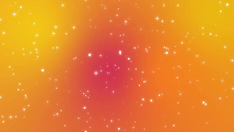 Sparkly light particles moving across orange red yellow gradient background Animation