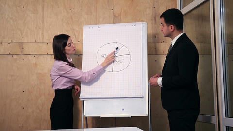 Two business people giving presentation at office Footage