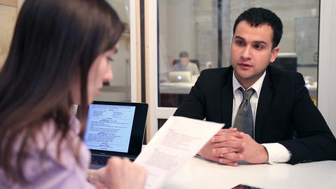Smiling candidate during a job interview Footage