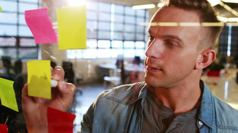 Businessman writing on sticky notes Live Action