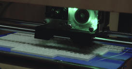 Working 3D printer extreme close up 4k video. Printing model: extruder creates Footage