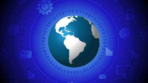 Global communication blue technology video clip Stock Video Footage