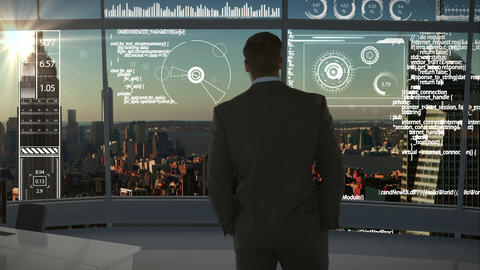 businessman in office with futuristic city background Animation