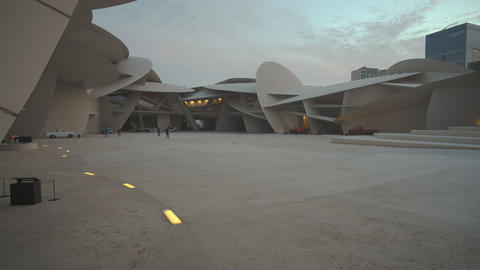 National museum of Qatar in Doha Qatar interior zooming in shot at sunset Live Action
