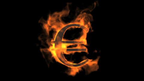 Euro symbol,fire Stock Video Footage