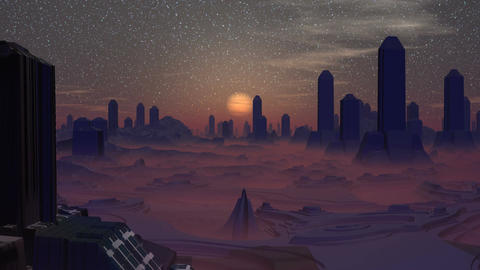 Sunset in the city of aliens Animation