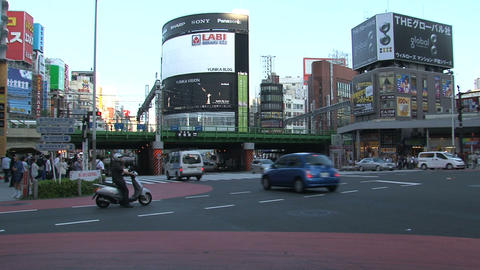 Shinjuku crossroad day 05 sound Stock Video Footage