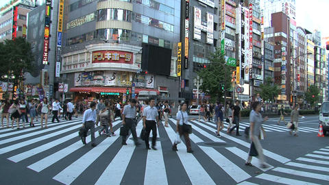 Shinjuku crossroad people day 04 Footage