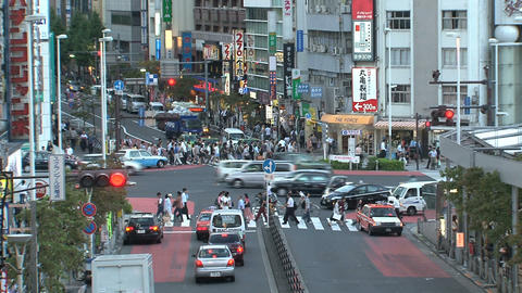 Shinjuku crossroad end day Stock Video Footage