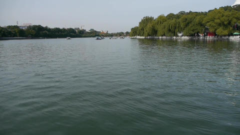 China Beijing Beihai Park lake water & willow island Footage