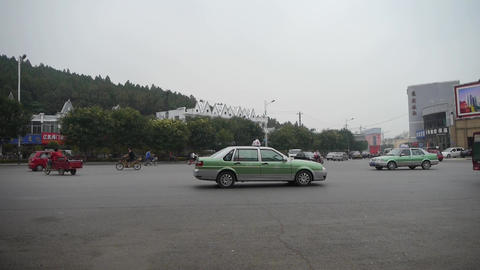 Urban town busy road traffic,Asia China Chinese people Stock Video Footage