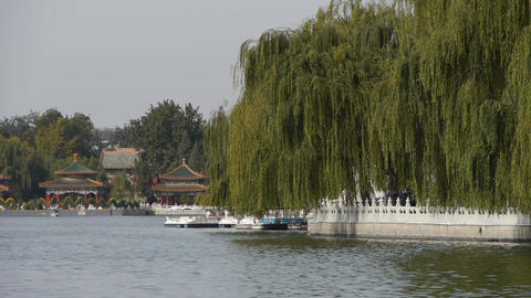 China Beijing ancient architecture Beihai Park & boat... Stock Video Footage