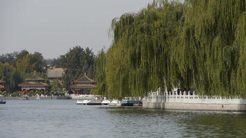 China Beijing ancient architecture Beihai Park & boat reflected on lake wate Footage