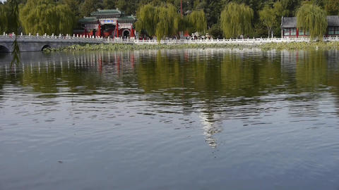 China Beijing ancient architecture Beihai Park white tower reflected in water Footage