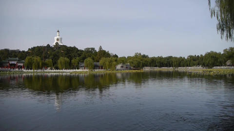 China Beijing ancient architecture Beihai Park white... Stock Video Footage