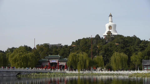 China Beijing ancient architecture Park white tower &... Stock Video Footage