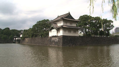 Imperial palace tokyo pan Stock Video Footage