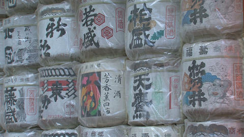 Sake barrels at Toshogu shrine Nikko Stock Video Footage