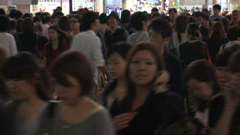 Shinjuku crossroad in evening Stock Video Footage