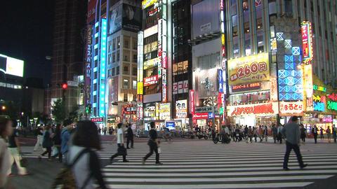 Shinjuku crossroad evening Stock Video Footage