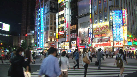 Shinjuku crossroad evening Footage