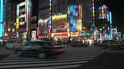 Shinjuku crossroad evening robots Stock Video Footage