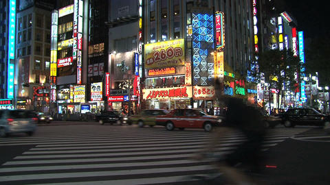 Shinjuku Crossroad Evening Robots stock footage