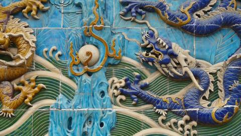 china royal nine dragon wall,stone dragon totem in... Stock Video Footage