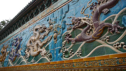 china royal nine dragon wall,stone dragon totem in... Stock Video Footage