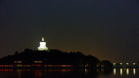 China Beijing ancient White Tower & island reflection... Stock Video Footage