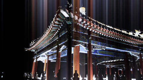 China Beijing ancient architecture pavilions & rays light at night Footage